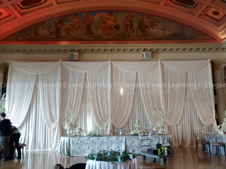 Double Layer Ivory Head Table Backdrop | Medinah Country Club