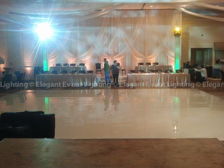 Head Table Backdrop & Ivory Dance Floor | Venuti's Grand Ballroom