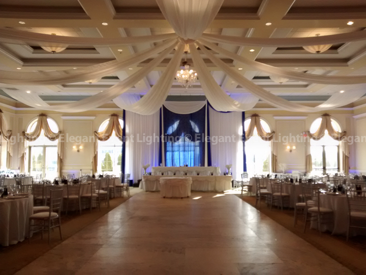 Starburst Ceiling Canopy & Head Table Crystal Curtain Backdrop | Venuti's - Venezia Ballroom