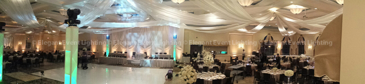 Ceiling Canopy, Ivory Dance Floor, Backdrop and Uplighting | Venuti's - Grand Ballroom