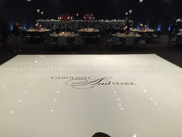 White Dance Floor, Custom Monogram & Perimeter Uplighting | Hotel Arista