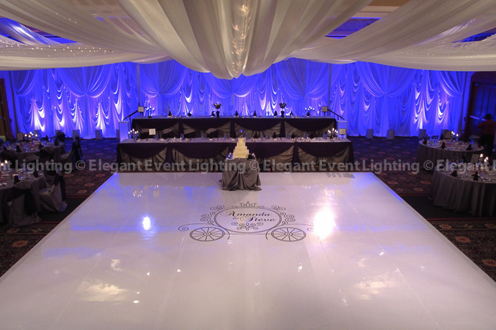 Head Table Backdrop, Uplighting, Ceiling Canopy & White Dance Floor | Marriott Burr Ridge