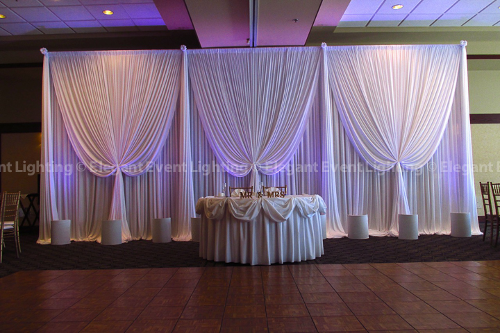 Sweet Heart Table Backdrop & Soft Lavender Uplighting | Arboretum Club