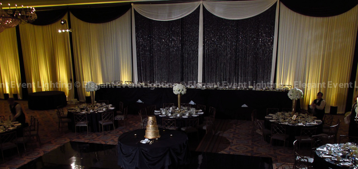 Crystal Curtain Backdrop & Pin Spot Flower and Wedding Cake Lighting | Terrace Room - Drury Lane