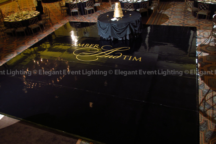 Black Dance Floor & Gold Monogram | Terrace Room - Drury Lane