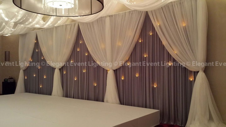 Ceremony Ceiling Draping and Hanging Candle Backdrop | Renaissance Chicago North Shore Hotel