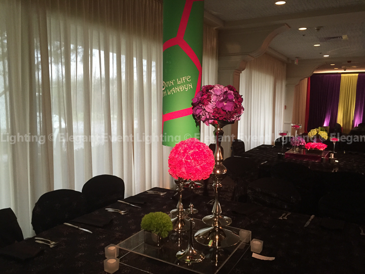 Mitzvah Centerpiece Pin Spot Lighting| Ravinia Green Country Club