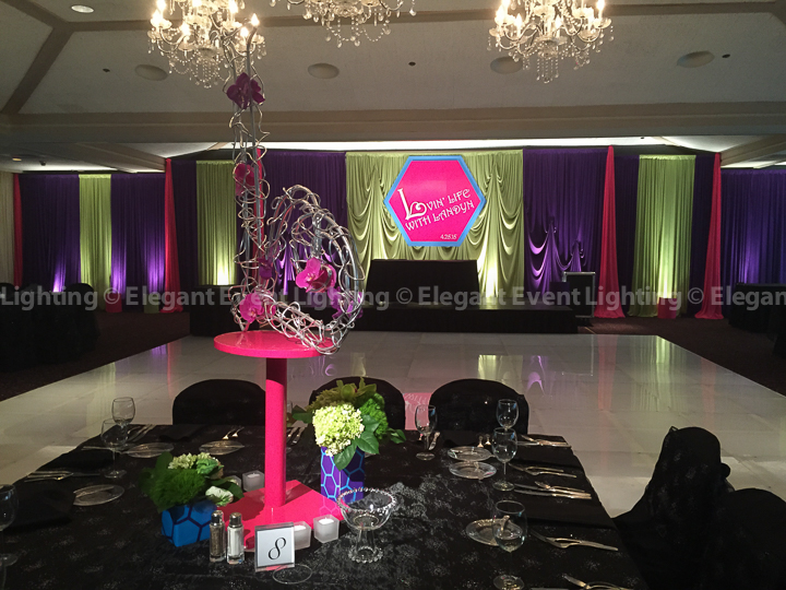 Mitzvah Room Draping, Uplighting & Centerpiece Pin Spot Lighting | Ravinia Green Country Club