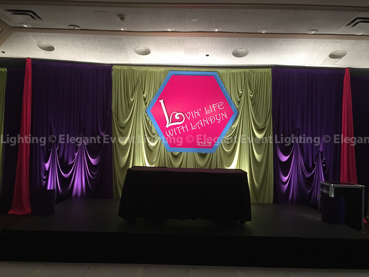 Mitzvah Room Draping and Uplighting | Ravinia Green Country Club