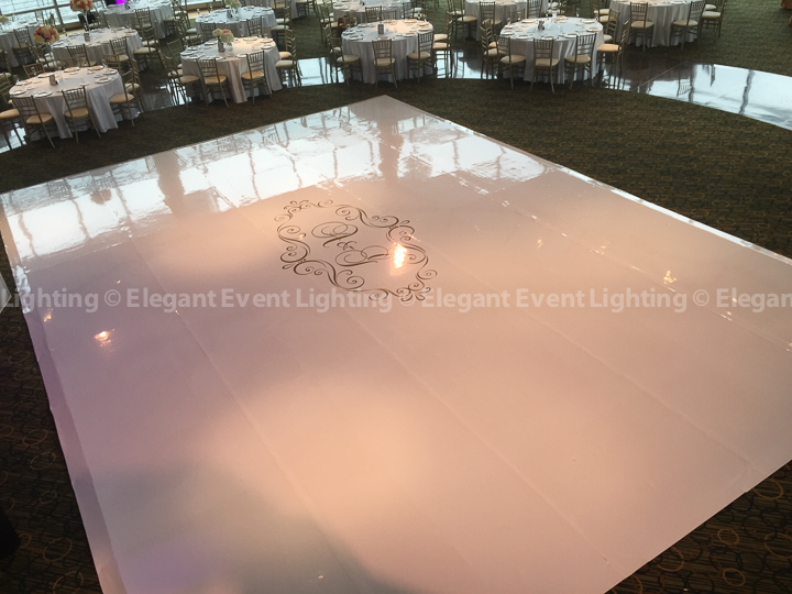 White Dance Floor & Custom Monogram | Esplanade Lakes