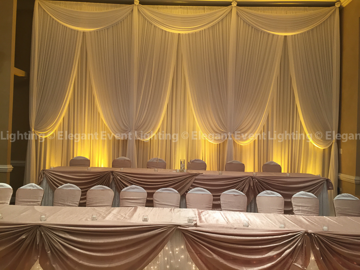 Wedding Head Table Backdrop & Uplighting | Monty's Elegant Banquets