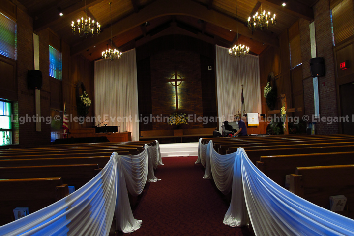 Ceremony Backdrop & Aisle Draping | Community Presbyterian Church Lombard