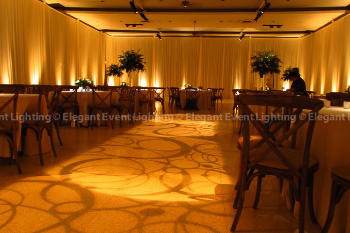 Ivory Draping, Amber Uplighting & Pattern Lighting | St. Demetrios Greek Orthodox Church