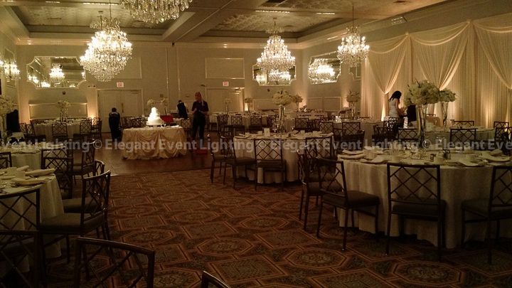 Sweetheart Table Backdrop & Warm Amber Room Uplighting | Crystal Ballroom - Drury Lane