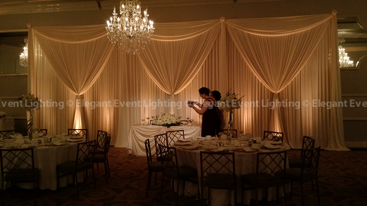 Sweetheart Table Backdrop, Table Soft Spotlight & Warm Amber Uplighting | Crystal Ballroom - Drury Lane
