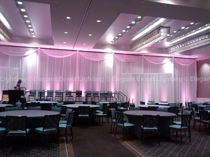 Head Table Backdrop & Blush Pink Uplighting | Ballroom - Hotel Arista
