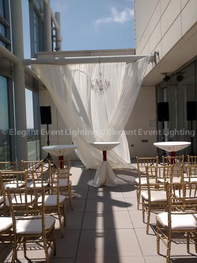 Ceremony Draping & Crystal Chandelier | Terrace - Hotel Arista