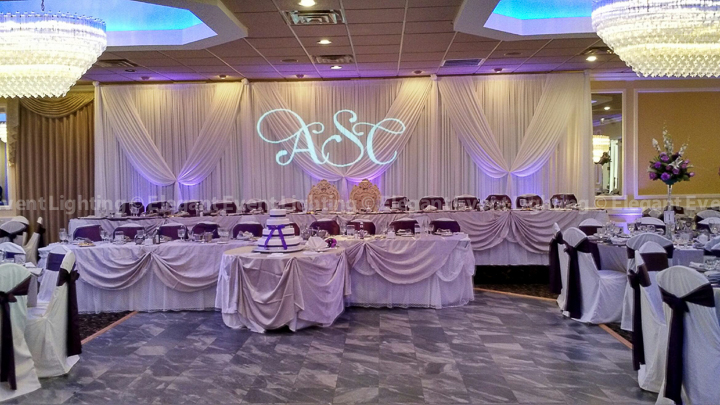 Head Table Backdrop, Uplighting & Custom Monogram | La Villa Banquets