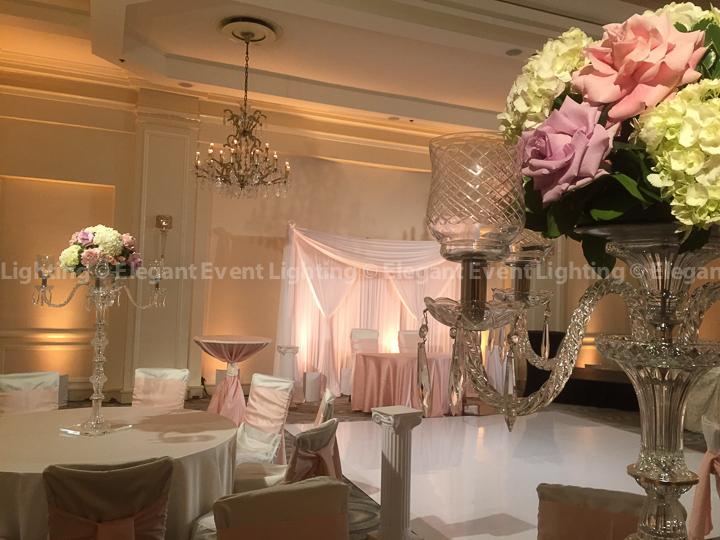Sweetheart Table Backdrop, White Vinyl Dance Floor Cover, Pin Spot Lighting & Uplighting | Hilton Orrington