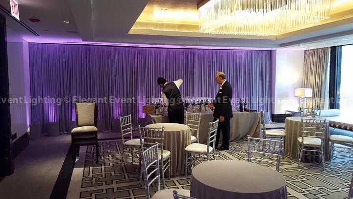 Silver Drape Backdrop & Purple Uplighting | Cambridge Room - Langham Hotel