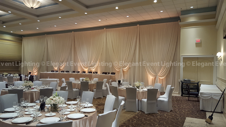 Bridal Party Head Table Backdrop & Warm Amber Uplighting | Verona Ballroom - Venuti's
