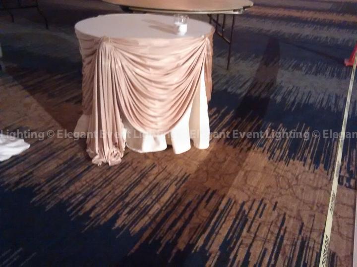 Gold Fabric Table Draping | Red Oak Ballroom - Eaglewood Resort & Spa
