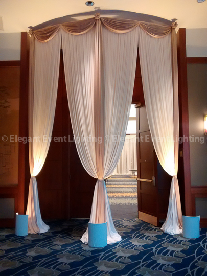 Dramatic Curved Drape Entrance | Red Oak Ballroom - Eaglewood Resort & Spa