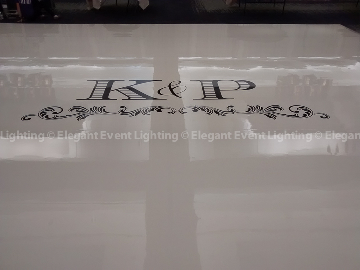 Ivory Wedding Dance Floor & Custom Monogram | Red Oak Ballroom - Eaglewood Resort & Spa