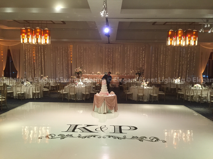 Fairy Light Head Table Backdrop & Ivory Dance Floor | Red Oak Ballroom - Eaglewood Resort & Spa