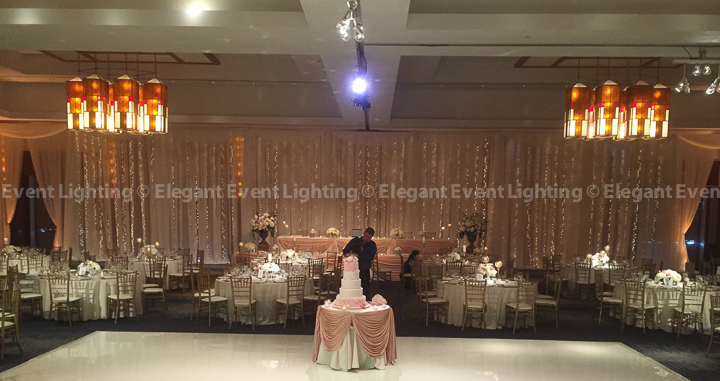 Fairy Light Head Table Backdrop | Red Oak Ballroom - Eaglewood Resort & Spa