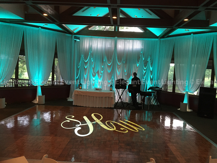 Wedding Draping, Uplighting & Custom Illuminated Monogram | Grill & Gallery Rooms - Seven Bridges Golf Club