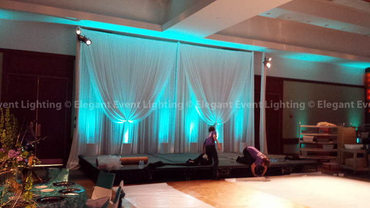 Band Backdrop & Jade Blue Uplighting | Eaglewood Resort & Spa