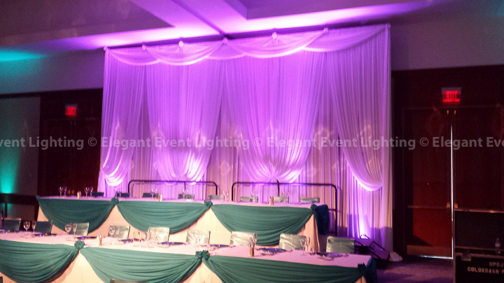 Head Table Backdrop & Lavender Uplighting | Eaglewood Resort & Spa