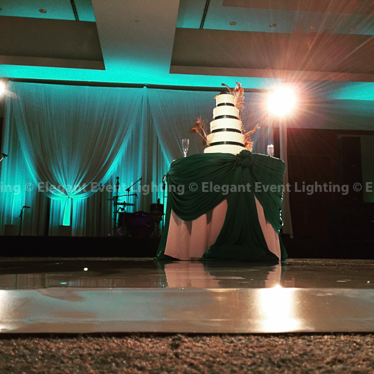 White Dance Floor, Band Backdrop & Jade Blue Uplighting | Eaglewood Resort & Spa