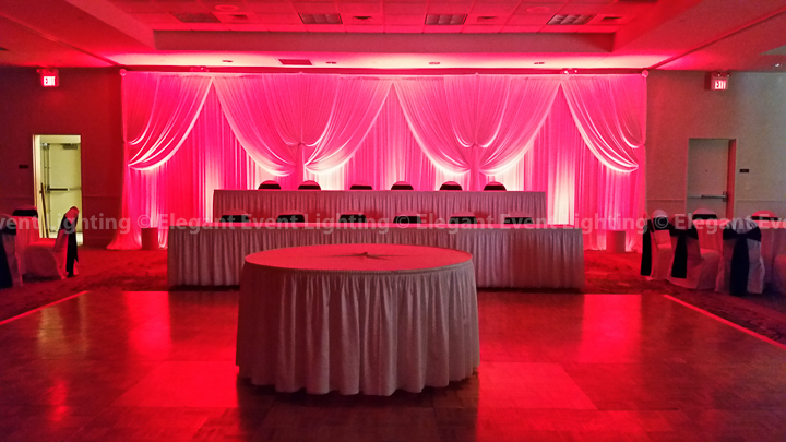 White Backdrop & Red Uplighting | Hilton Garden Inn St. Charles
