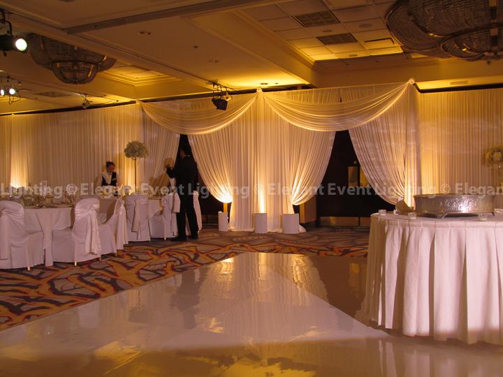 Drape Entrances & Soft Amber Uplighting | Majestic Ballroom - Hilton Lisle
