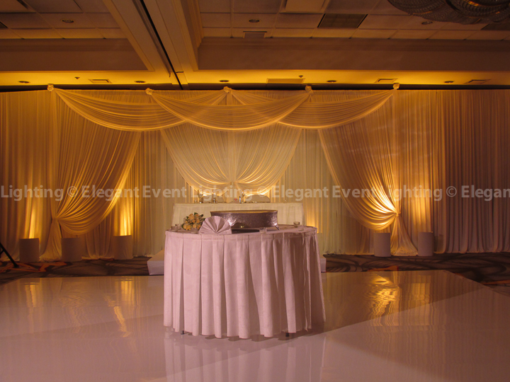 Sweetheart Table Backdrop & Soft Amber Uplighting | Majestic Ballroom - Hilton Lisle