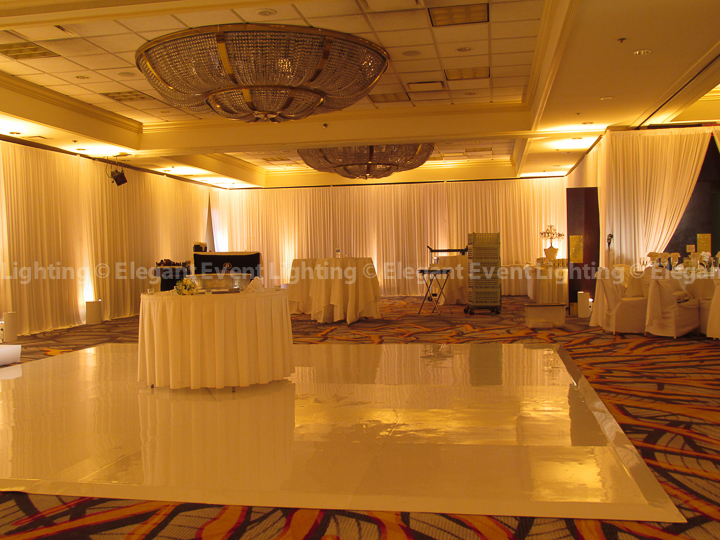 Wall Draping & Soft Amber Uplighting | Majestic Ballroom - Hilton Lisle