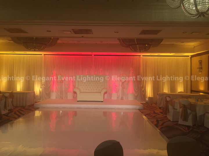 White Fabric Draping, Uplighting, Stage Cover, Love Seat & White Dance Floor | Majestic Ballroom - Hilton Lisle