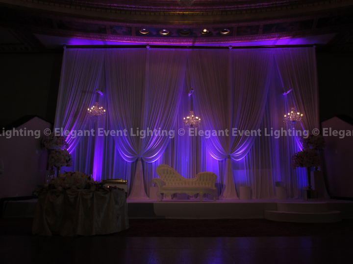 Wedding Backdrop with Purple Uplighting & Crystal Chandeliers | Intercontinental Hotel Chicago