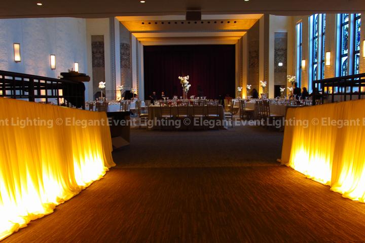 Entrance Lighting & Draping and Room Uplighting | Mundelein Auditorium - Loyola University