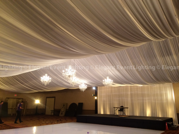 Ceiling Draping, White Dance Floor, Band Backdrop & Crystal Chandeliers | Marriott Naperville