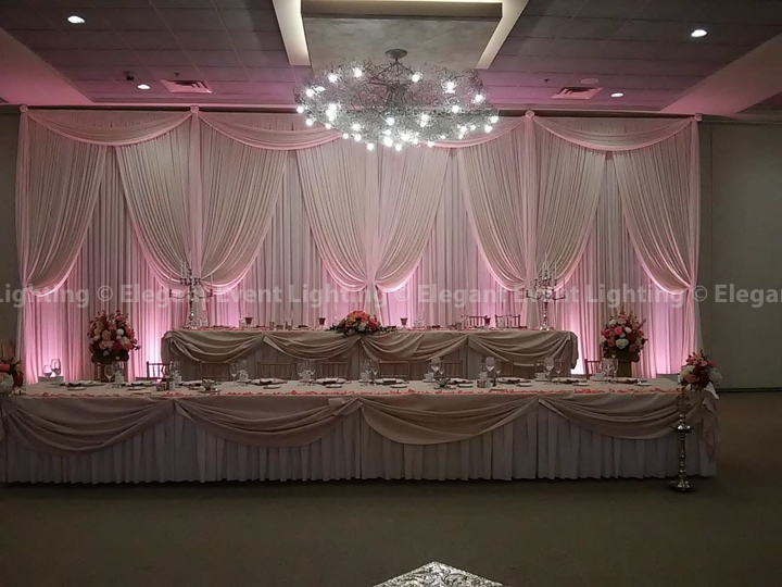 Head Table Backdrop * Soft Pink Uplighting | Belvedere