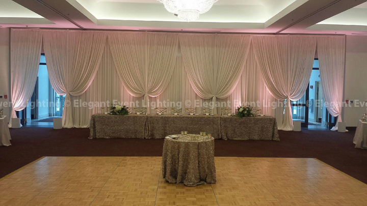 Ivory Wedding Backdrop & Soft Blush Pink Uplighting | Cuneo Mansion & Gardens