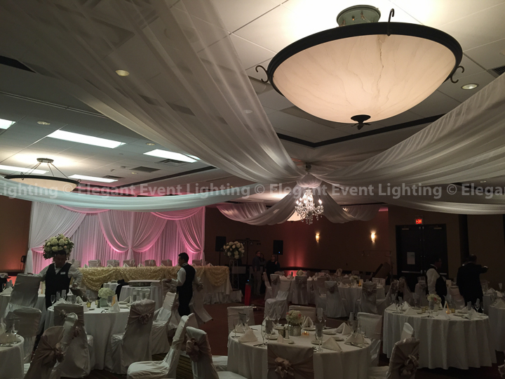 Head Table Backdrop, Ceiling Draping & Pink Uplighting | Holiday Inn Elgin