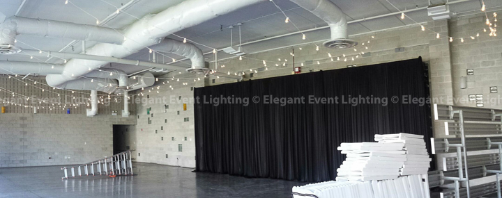 Head Table Backdrop & Cafe Globe Lighting | Ignite Glass Studios