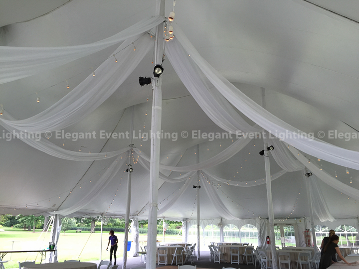 Tent Ceiling Draping & Cafe Globe Lighting | Morton Arboretum