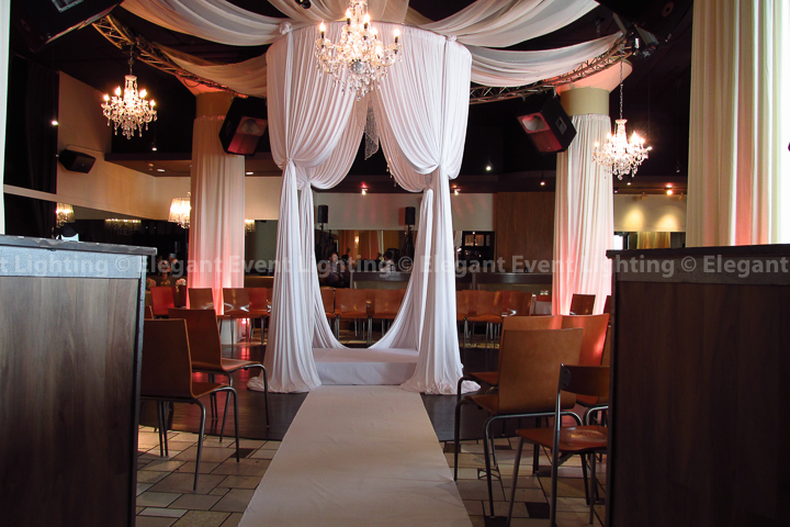 Circular Bridal Canopy, Crystal Chandeliers, Ceiling Draping, Lighting & Aisle Runner | Nacional 27