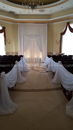 Ceremony Backdrop, Arch & Aisle Draping | Vita Room - Venuti's