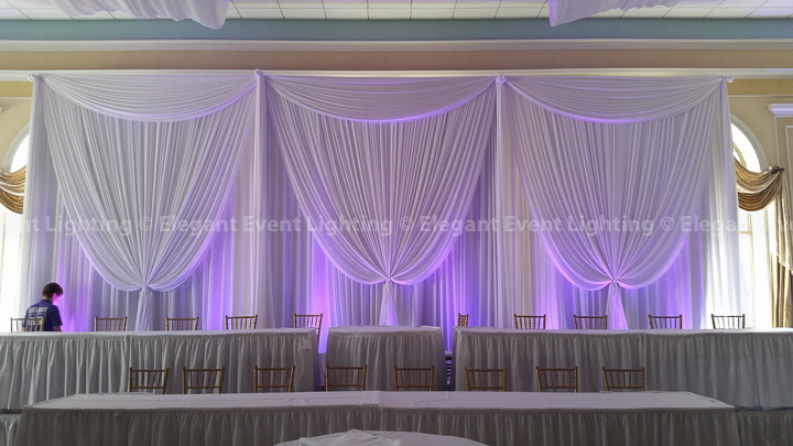 White Fabric Backdrop & Purple Uplighting | Venezia Ballroom - Venuti's